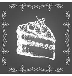 Chalk cream cake with berries and vintage frame vector