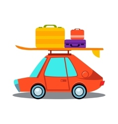Car side view with heap of luggage vector