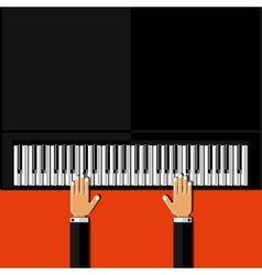 Hands playing the grand piano vector