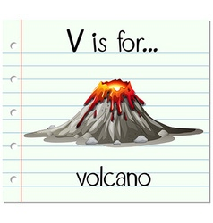 Flashcard letter v is for volcano vector