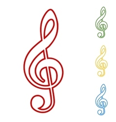 Violine clef line icons set vector
