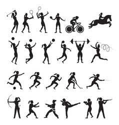 Sports athletes women symbol silhouette set vector