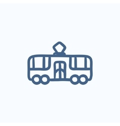 Tram sketch icon vector