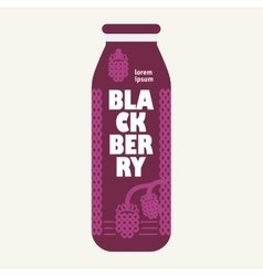Bottle with drawing blackberry vector