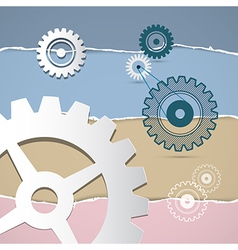 Abstract retro cogs gears on torn paper background vector