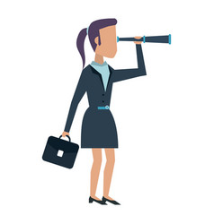 Business woman with telescope vector