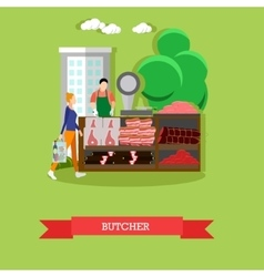 Butcher with meat products vector