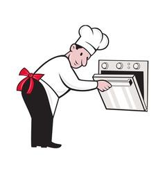 Cartoon Chef Baker Cook Opening Oven vector image vector image
