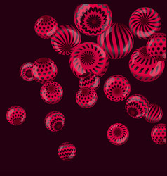 Circle red beads necklaces on black background vector