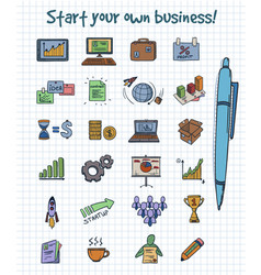 Colored doodle business start elements concept vector