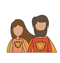 Colorful caricature faceless half body couple vector