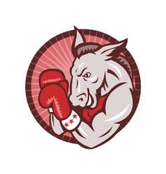 Democrat donkey mascot boxer boxing retro vector