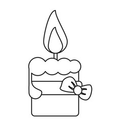 Easter candle with ribbon bow decoration thin line vector