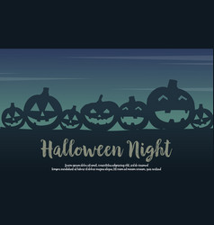 Halloween with pumpkin silhouette design vector
