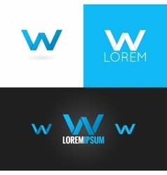 letter W logo design icon set background vector image vector image