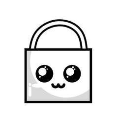 Line kawaii cute tender padlock element vector