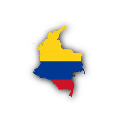 Map and flag of colombia vector