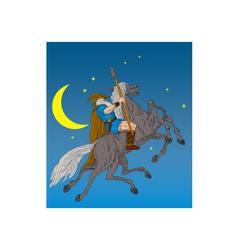 Norse god odin riding eight-legged horse vector