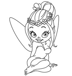 outlined flower fairy vector image