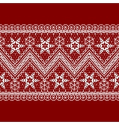 red background with white pattern vector image