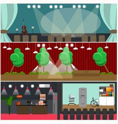 Set of opera house cinema interior flat vector