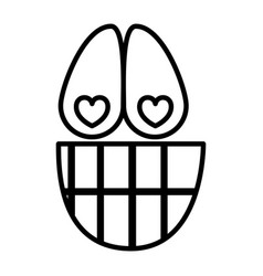 Sketch silhouette emoticon happy in love vector