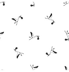 Stork carrying pattern seamless black vector