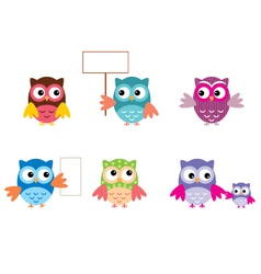 The Drawn Owls Different Types vector image vector image