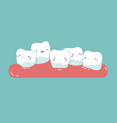 Tooth growing in front or behind another tooth vector