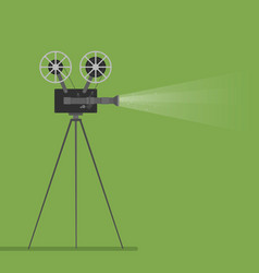 Video camera movie film reel going to cinema icon vector