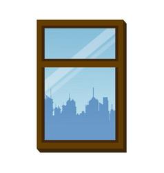 Window frame city urban buiding view vector