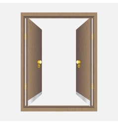 Wood open door with frame vector