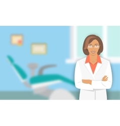Young woman dentist at the dental office vector