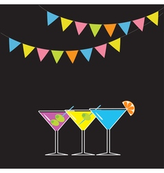 Set of three glasses with different cocktails vector