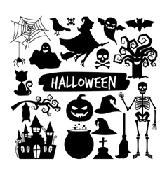 Halloween black silhouettes vector