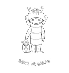 Halloween coloring page with cute monster vector