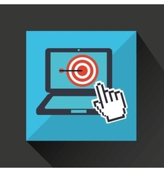 Hand business growth target pointer virtual vector
