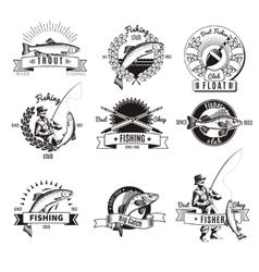 Vintage fishing labels set vector