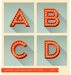Vintage light bulb sign letters a b c d vector image