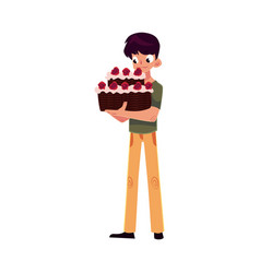 Teenage boy holding chocolate birthday cake with vector