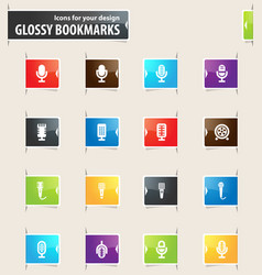 Microphone bookmark icons vector