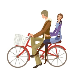 Couple riding on bicycle vector