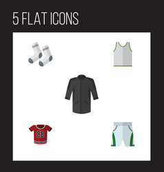 flat clothes set of uniform foot textile t-shirt vector image
