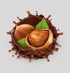 Hazelnut and chocolate splash realistic 3d icon vector