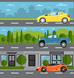 Sport car universal and pickup on highway vector