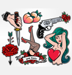 Set of danger and sexy femininity patches vector
