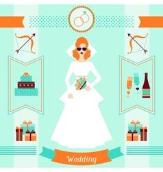 Wedding invitation card template in retro style vector image