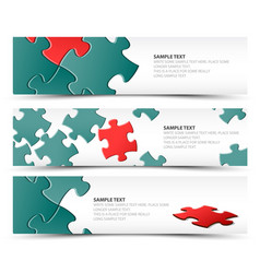 Set of puzzle horizontal banners vector
