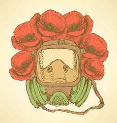 Sketch respiratory mask with poppies in vintage vector