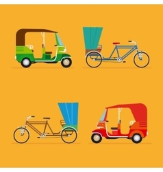 Indian rickshaw auto rickshaw and pedicab vector